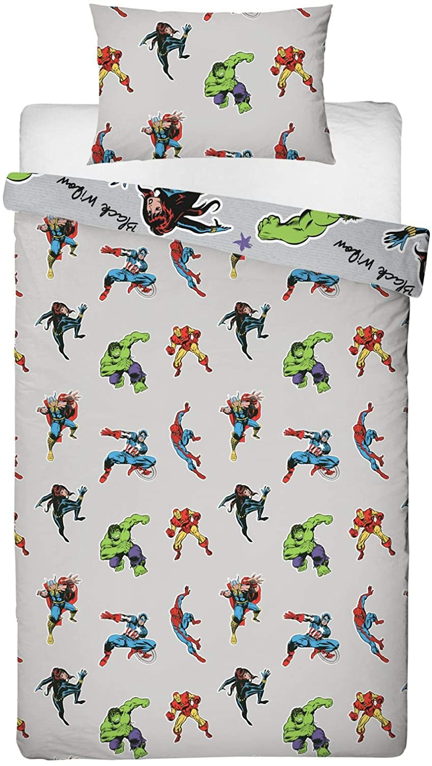 Marvel 'Comic Heroes' Grey Rotary Single Bed Duvet Quilt Cover Set