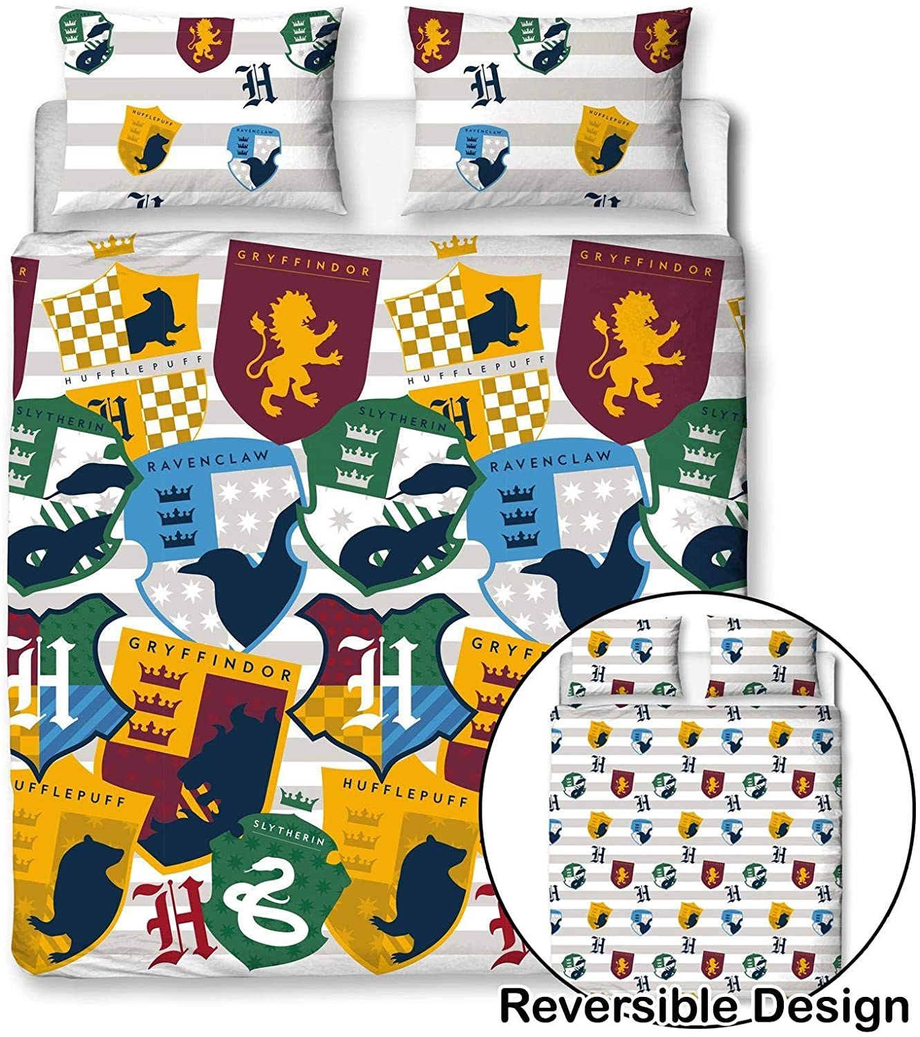 Harry Potter Stickers Reversible Rotary Double Bed Duvet Quilt Cover Set