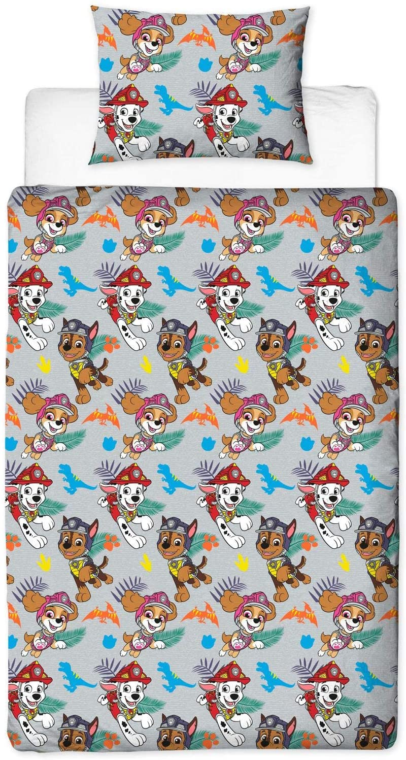 Paw Patrol Dino Reversible Rotary Single Bed Duvet Quilt Cover Set