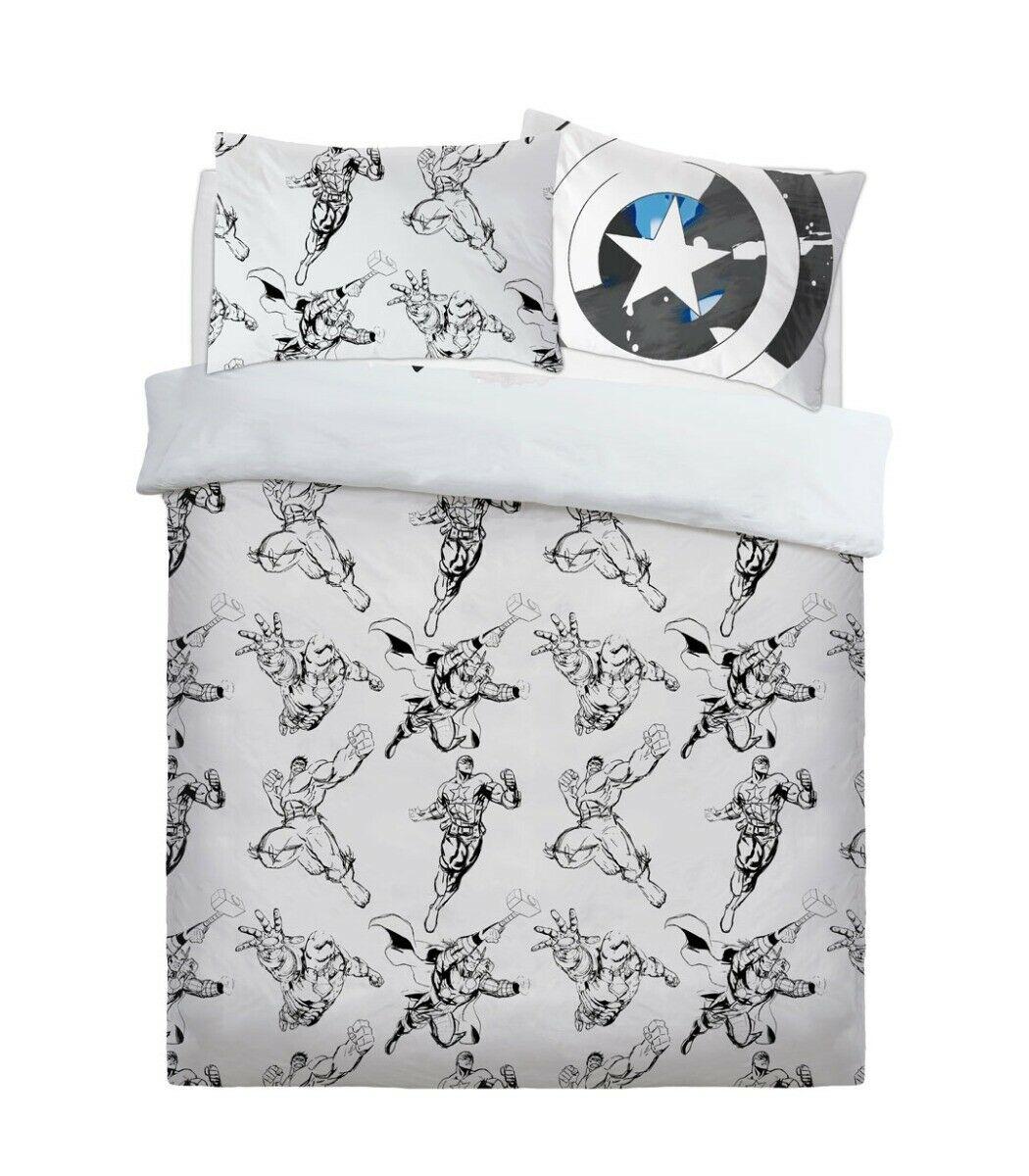Avengers Watercolour Panel Double Bed Duvet Quilt Cover Set