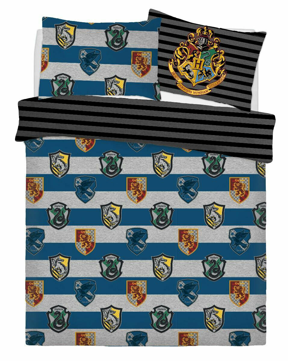 Harry Potter Crest Panel Double Bed Duvet Quilt Cover Set