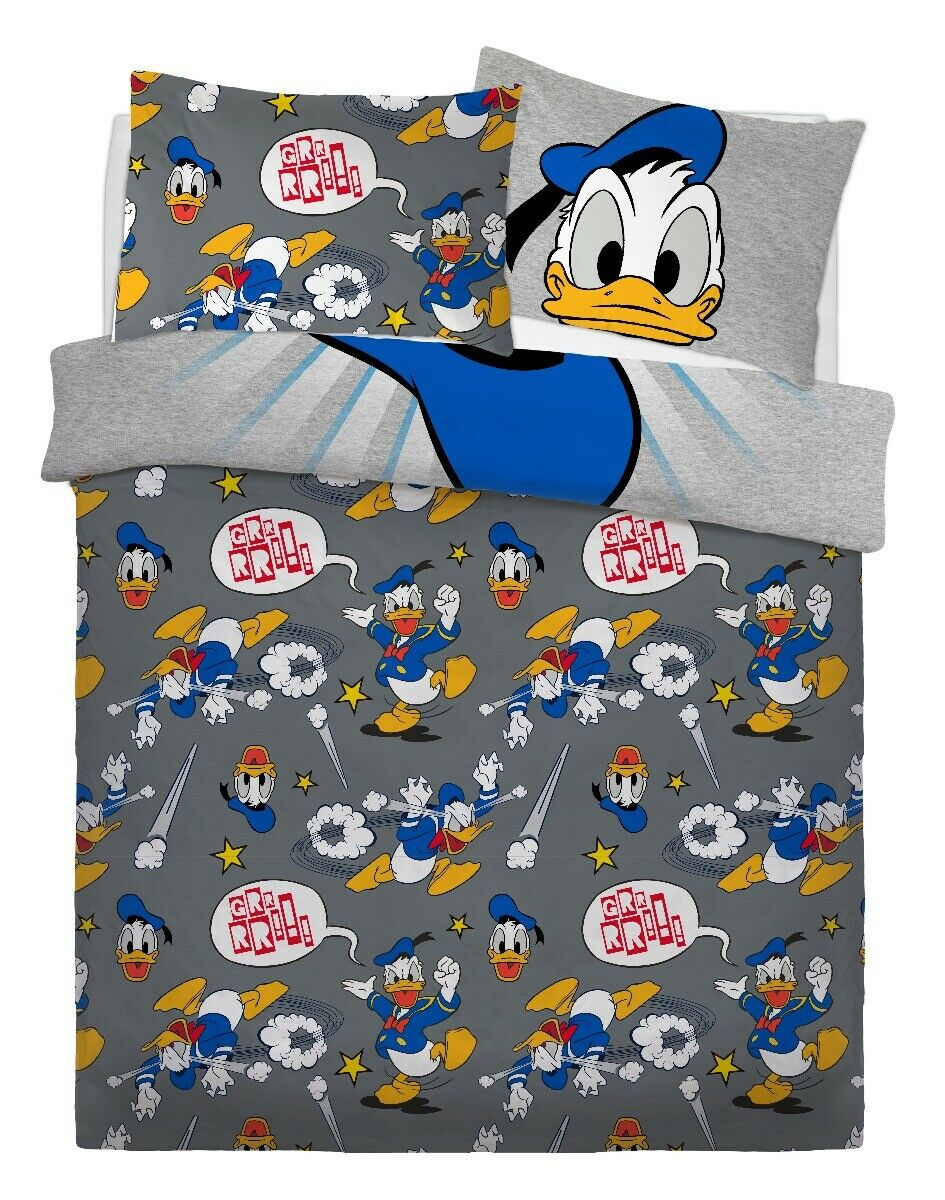 Disney Donald Duck Panel Double Bed Duvet Quilt Cover Set