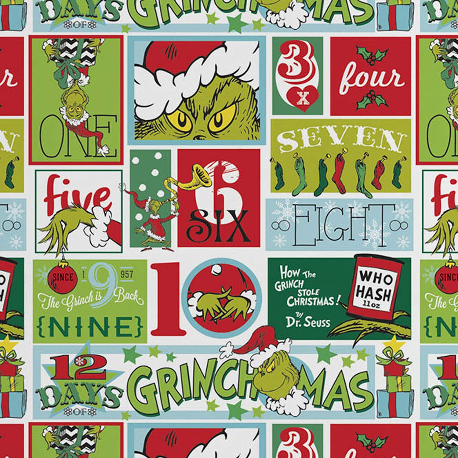 The Grinch'' 12 Days Rotary Single Bed Duvet Quilt Cover Set
