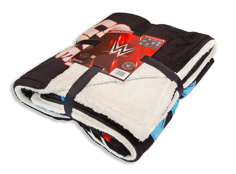 WWE Sherpa Panel Fleece Blanket Throw
