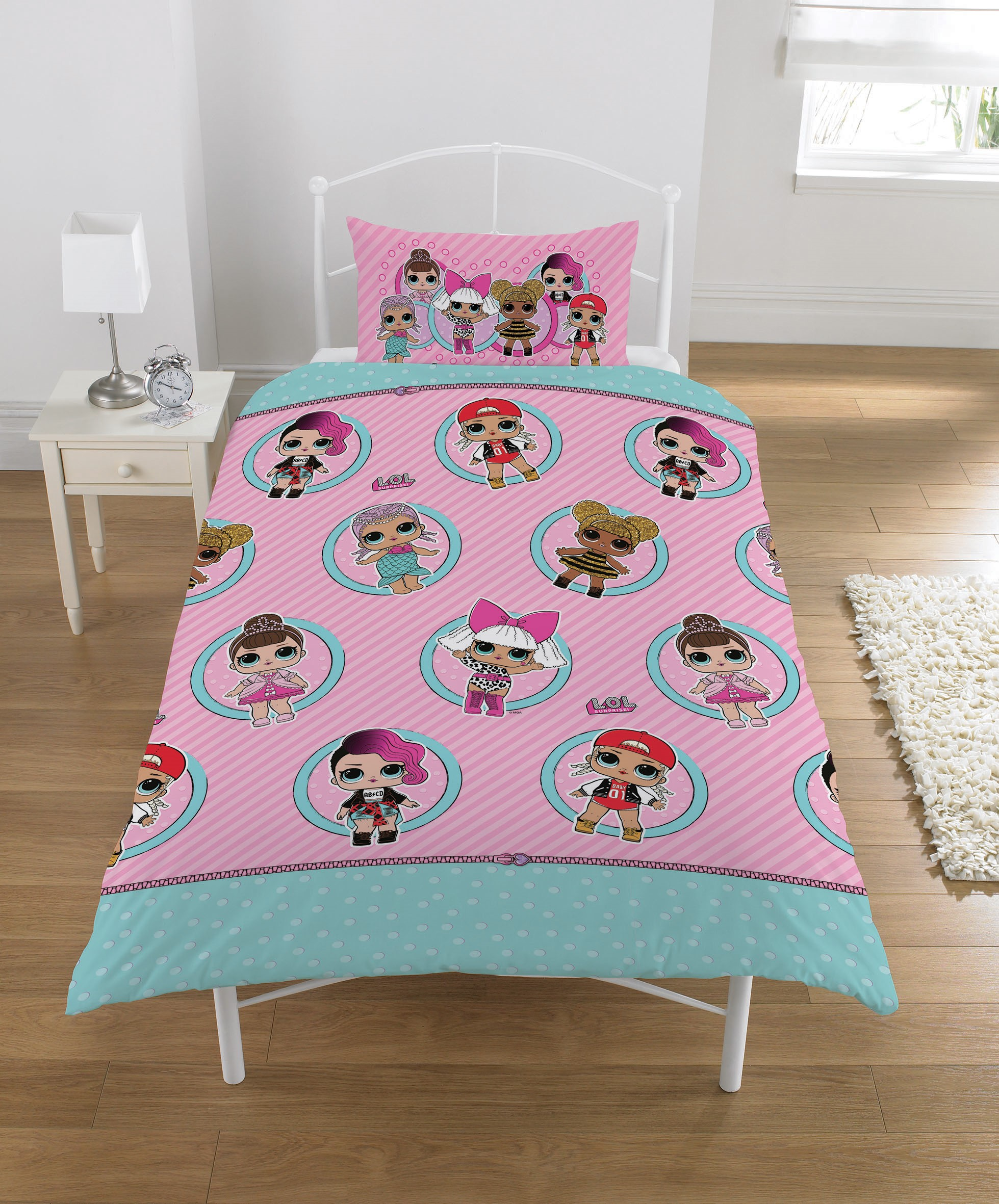 L.o.l Surprise Collectible Reversible 2 Sided Kids Design Rotary Single Bed Duvet Quilt Cover Set