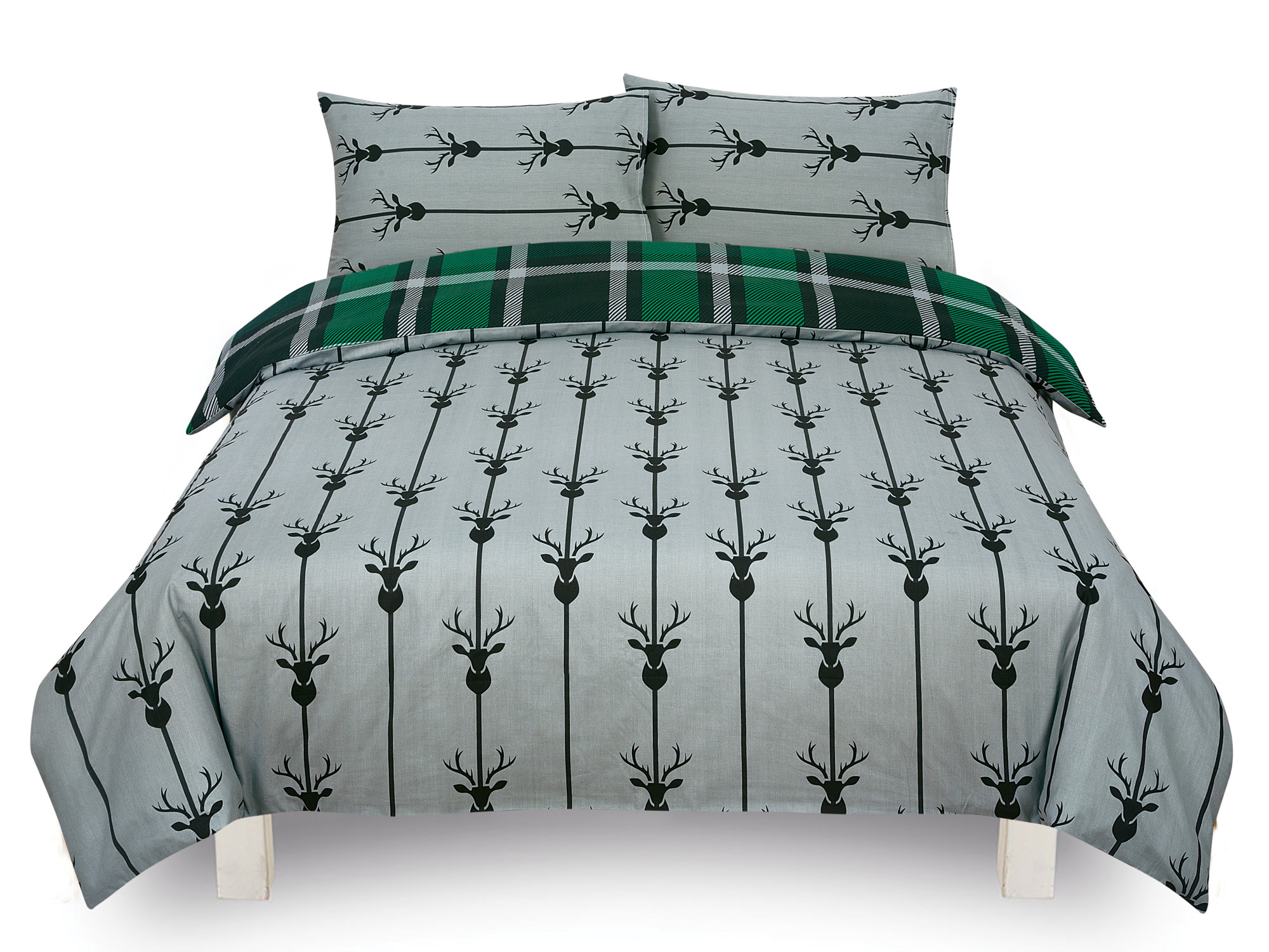Check-Stag-Tartan-Deer-Antlers-Bedding-Single-Double-King-Duvet-Quilt-Cover-Set miniatura 11