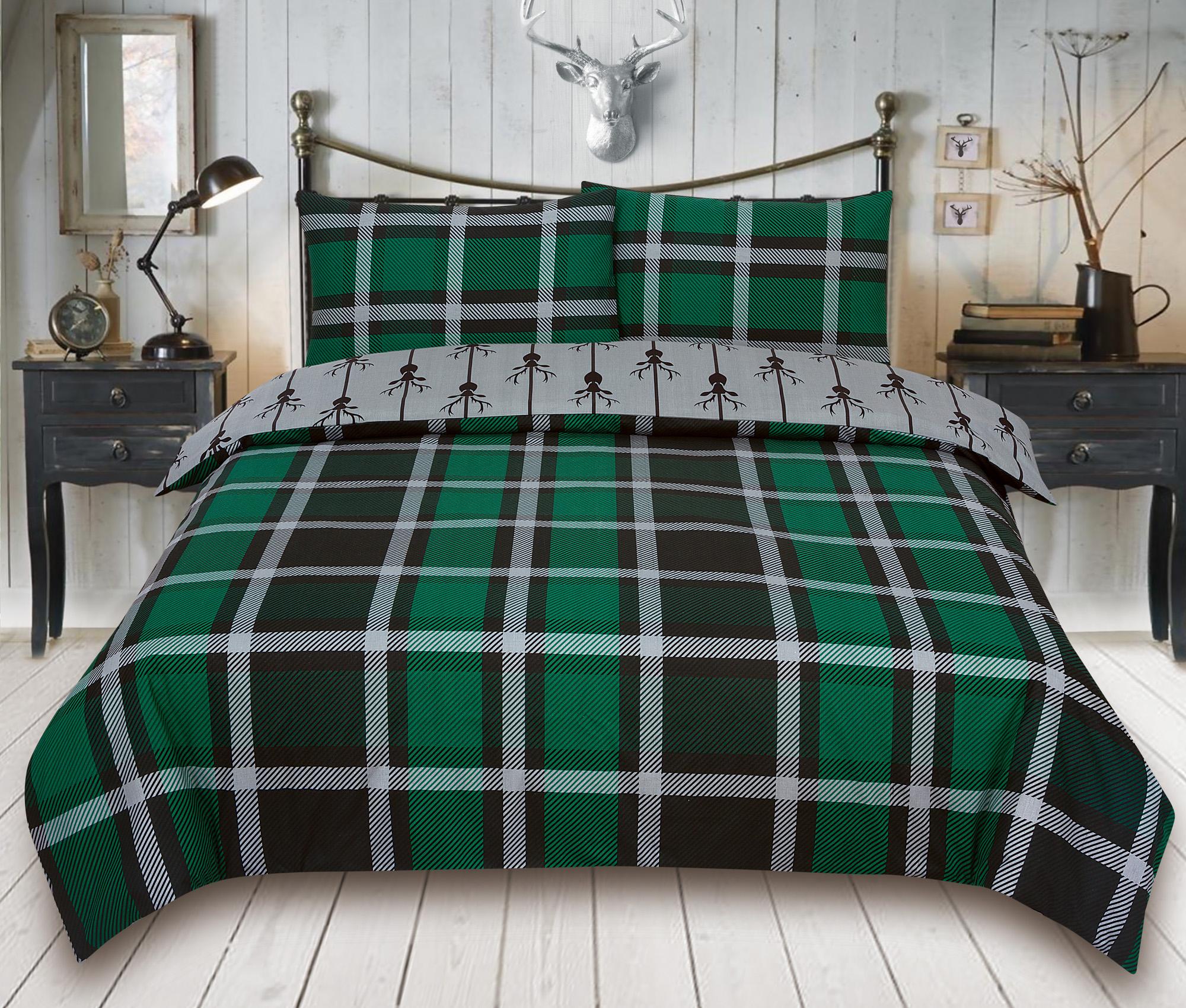 Check-Stag-Tartan-Deer-Antlers-Bedding-Single-Double-King-Duvet-Quilt-Cover-Set miniatura 12
