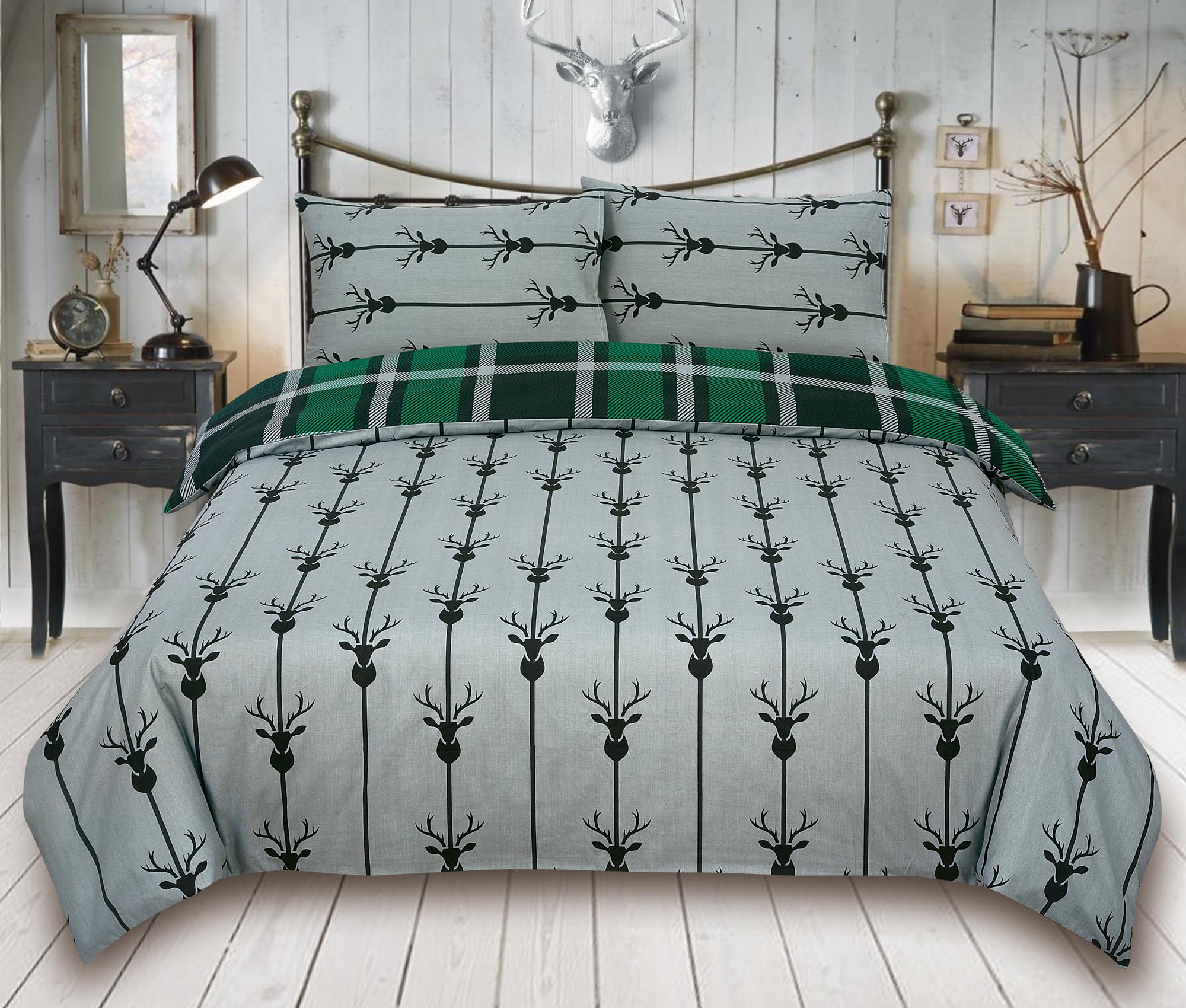 Check-Stag-Tartan-Deer-Antlers-Bedding-Single-Double-King-Duvet-Quilt-Cover-Set miniatura 13