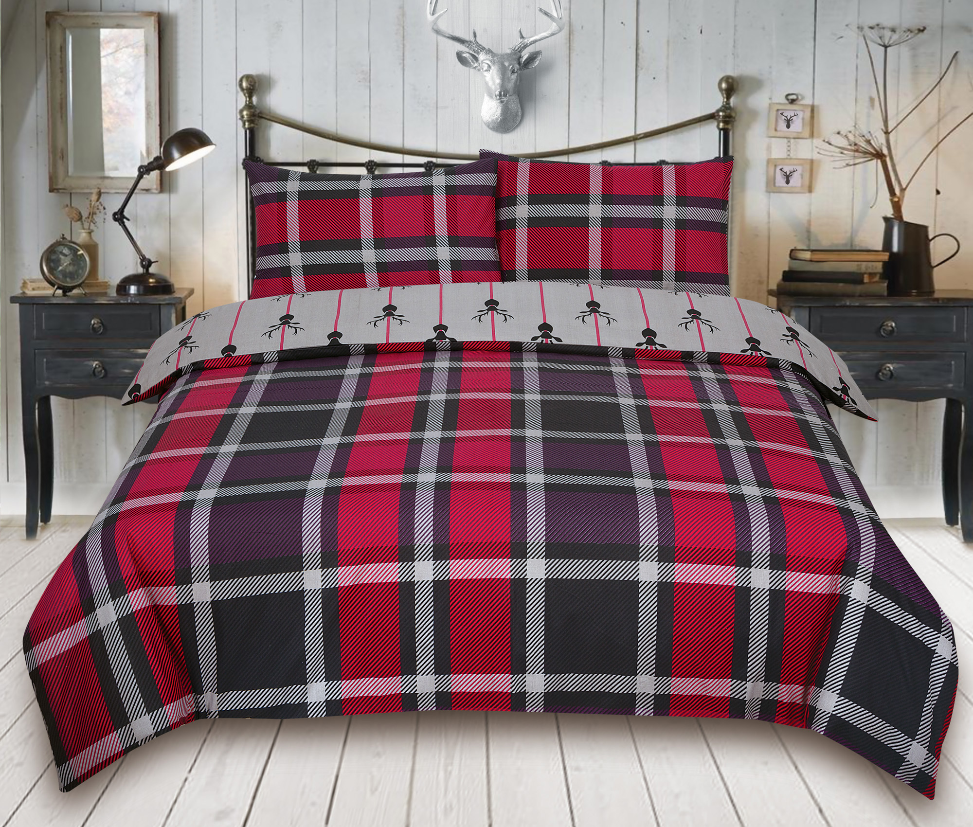 Check-Stag-Tartan-Deer-Antlers-Bedding-Single-Double-King-Duvet-Quilt-Cover-Set miniatura 8
