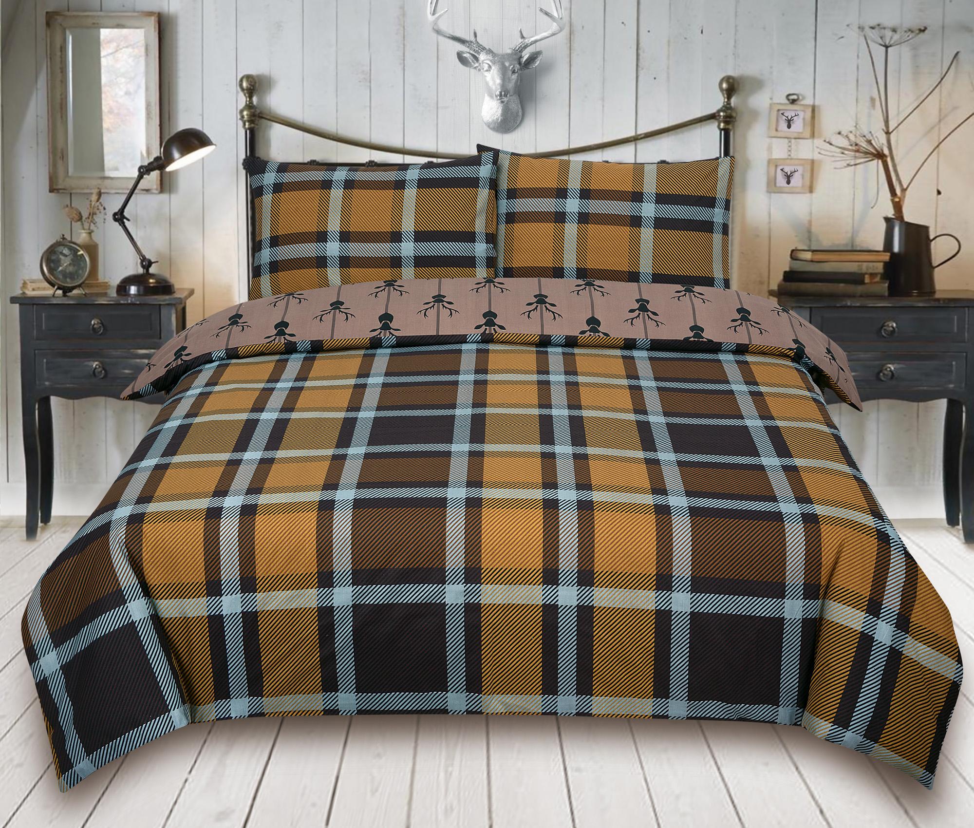 Check-Stag-Tartan-Deer-Antlers-Bedding-Single-Double-King-Duvet-Quilt-Cover-Set miniatura 4
