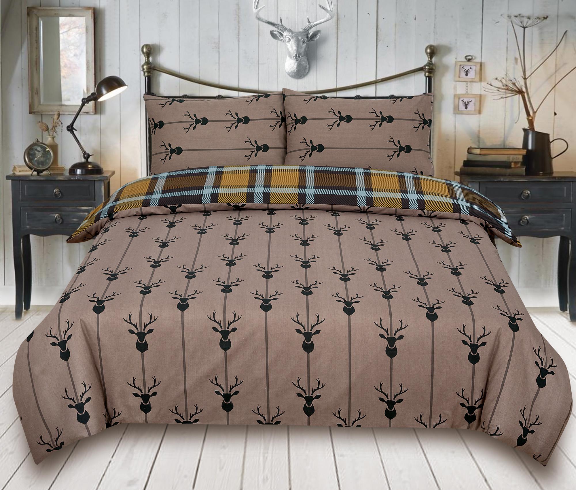Check-Stag-Tartan-Deer-Antlers-Bedding-Single-Double-King-Duvet-Quilt-Cover-Set miniatura 5