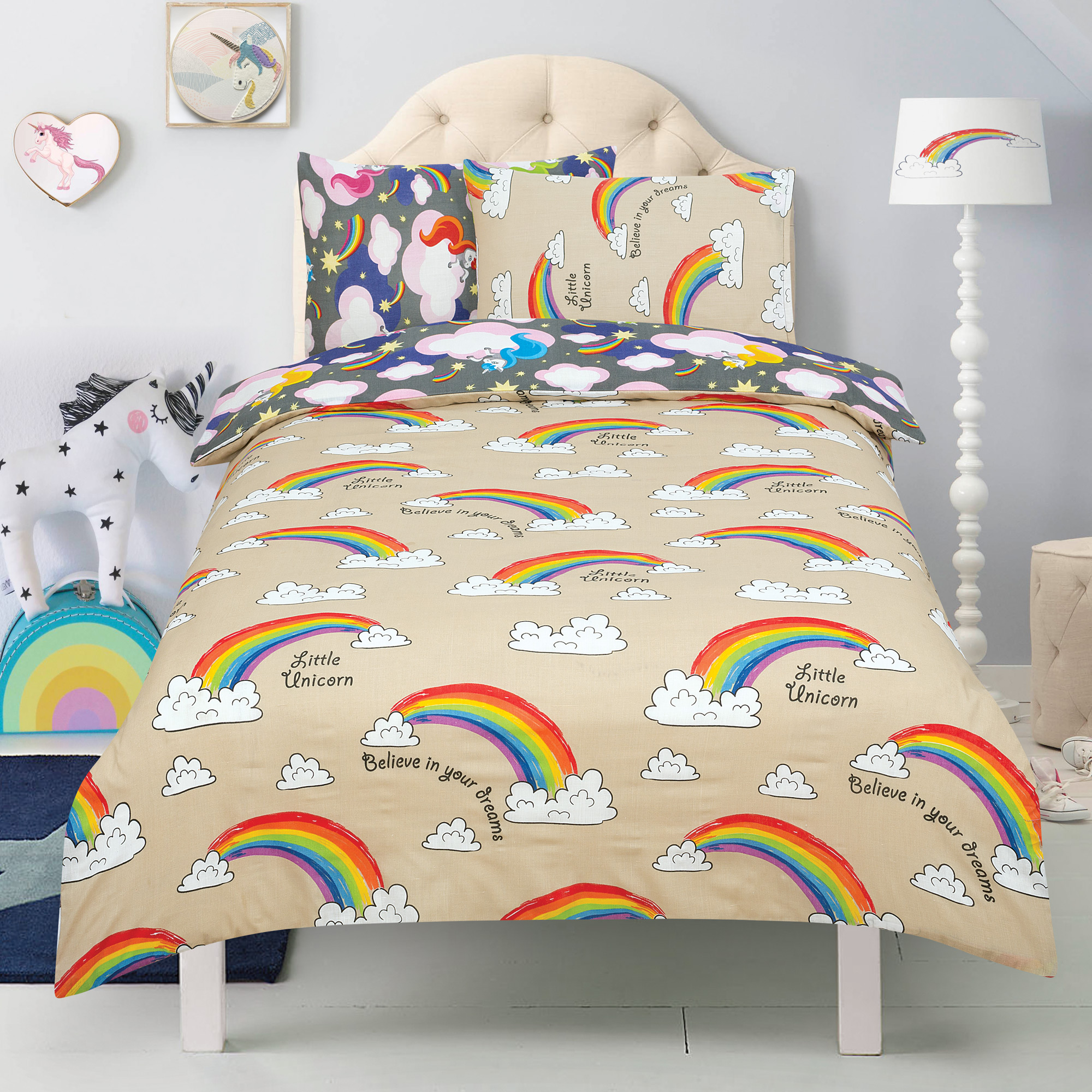 Unicorn 'Believe In Your Dreams' Charcoal Reversible Rotary Double Bed Duvet Quilt Cover Set