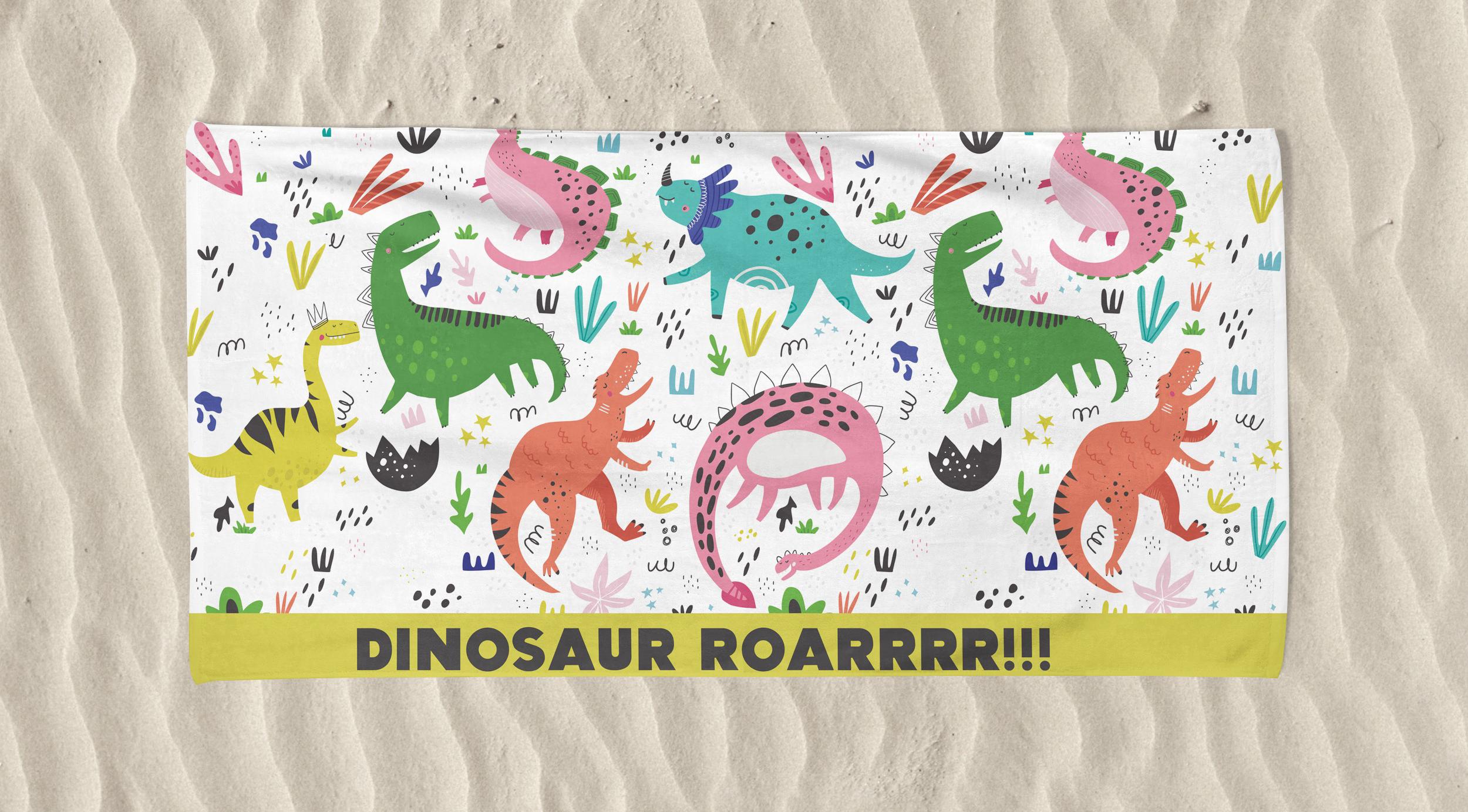 Kid's Beach Towel Dino Roar Printed