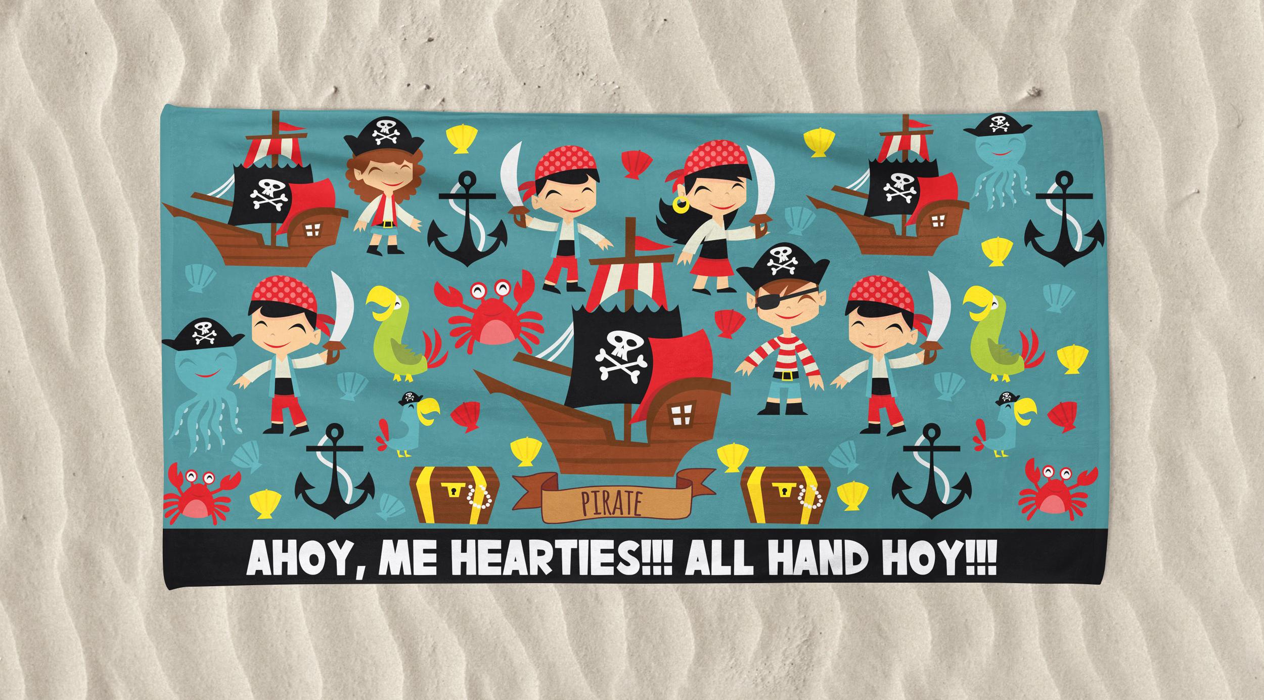 Kid's Beach Towel Pirates Ahoy Printed