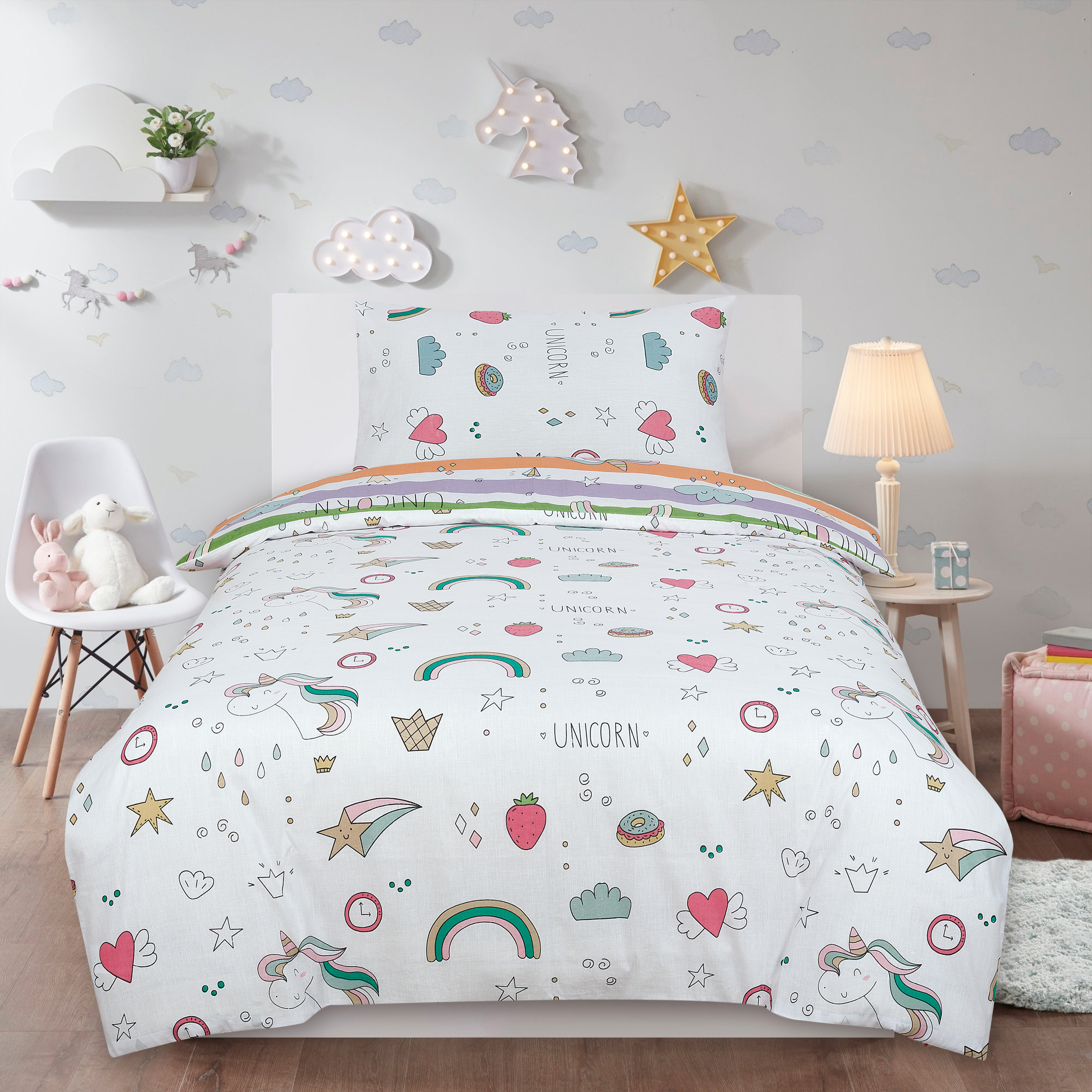 Unicorn Rainbow Kids Two Sided Design Reversible Rotary Double Bed Duvet Quilt Cover Set