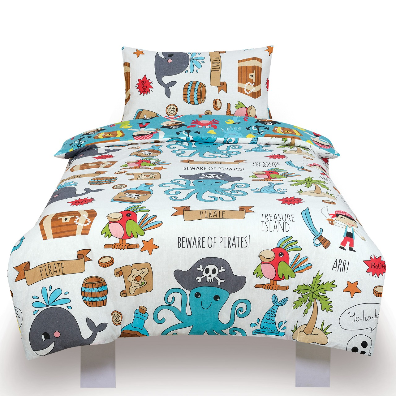 Pirates Ahoy Kids Two Sided Design Reversible Rotary Single Bed Duvet Quilt Cover Set