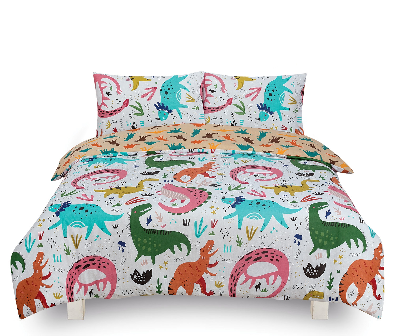 Dino Roar Kids 2 Sided Design Reversible Rotary Double Bed Duvet Quilt Cover Set
