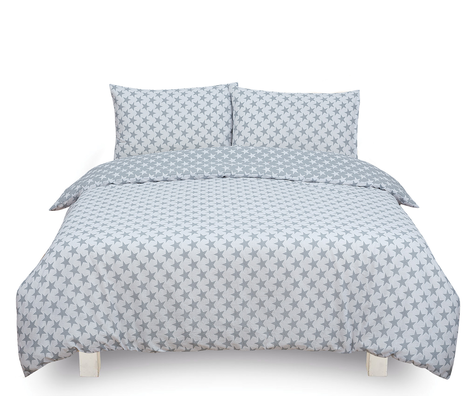 Stars Grey Reversible Rotary Double Bed Duvet Quilt Cover Set