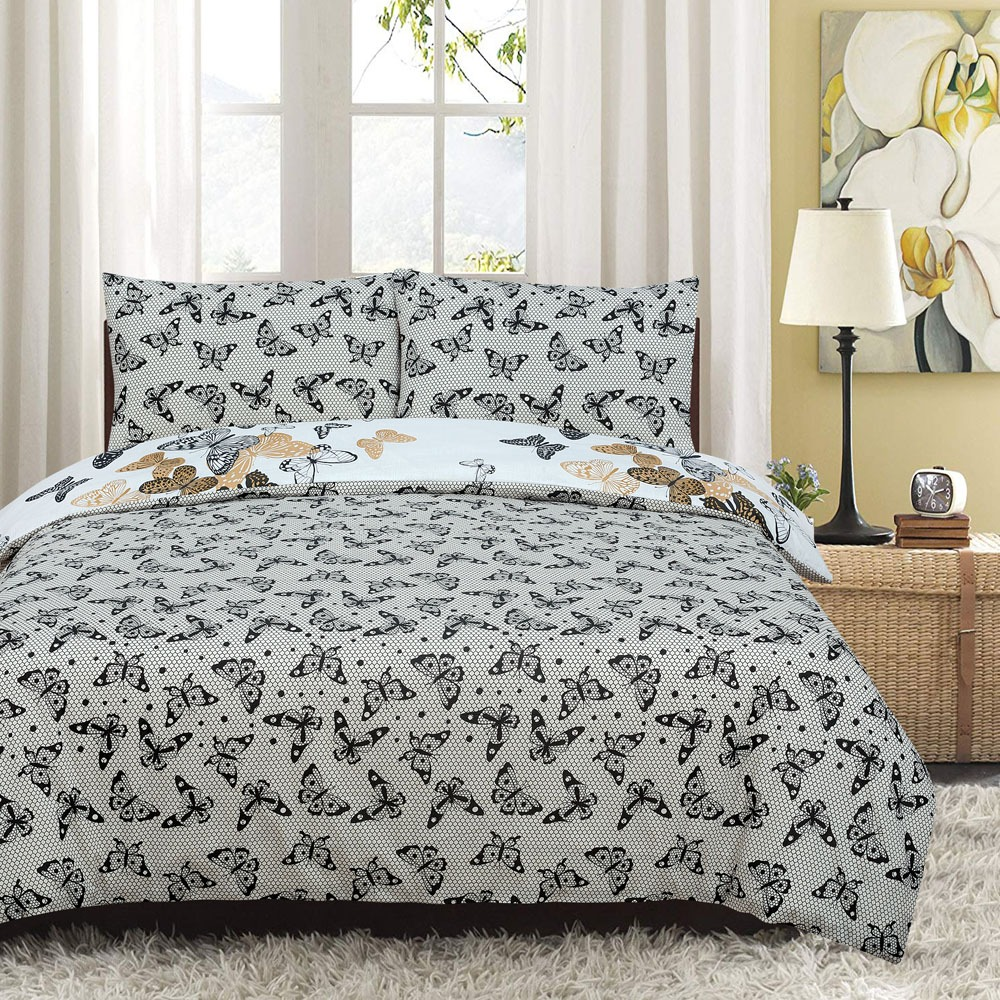 Butterfly Kids Reversible Rotary King Bed Duvet Quilt Cover Set
