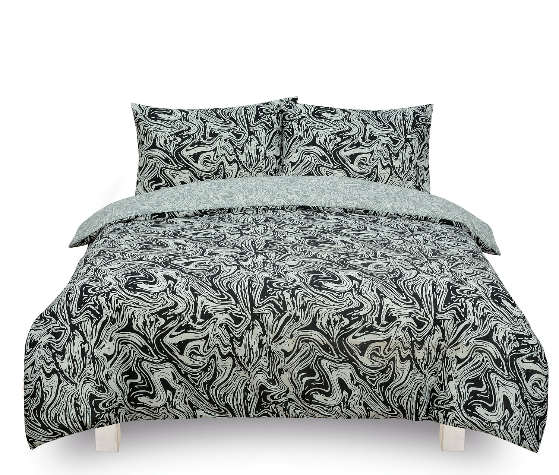 Marble Black Reversible Rotary Single Bed Duvet Quilt Cover Set