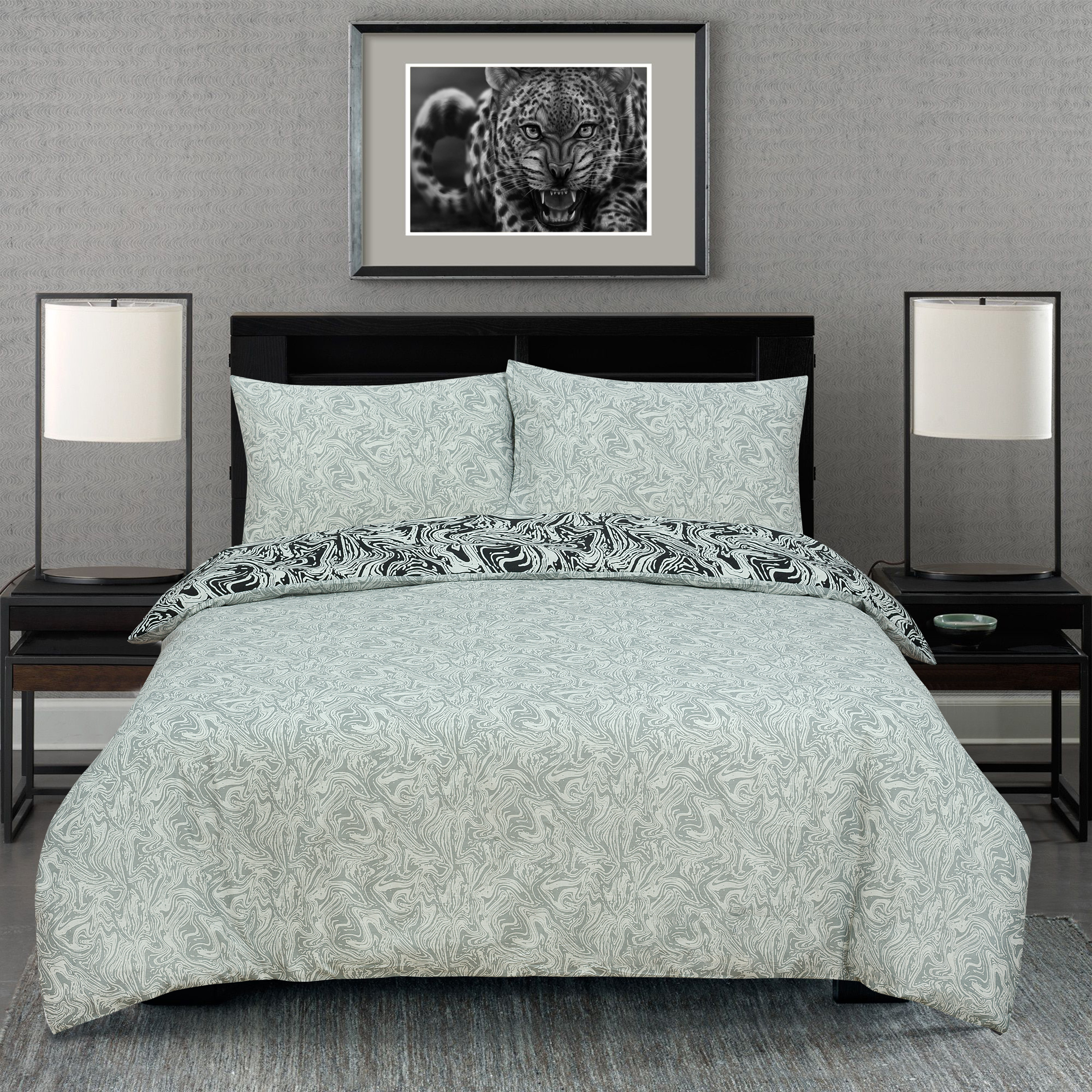 Marble Black Reversible Rotary Double Bed Duvet Quilt Cover Set