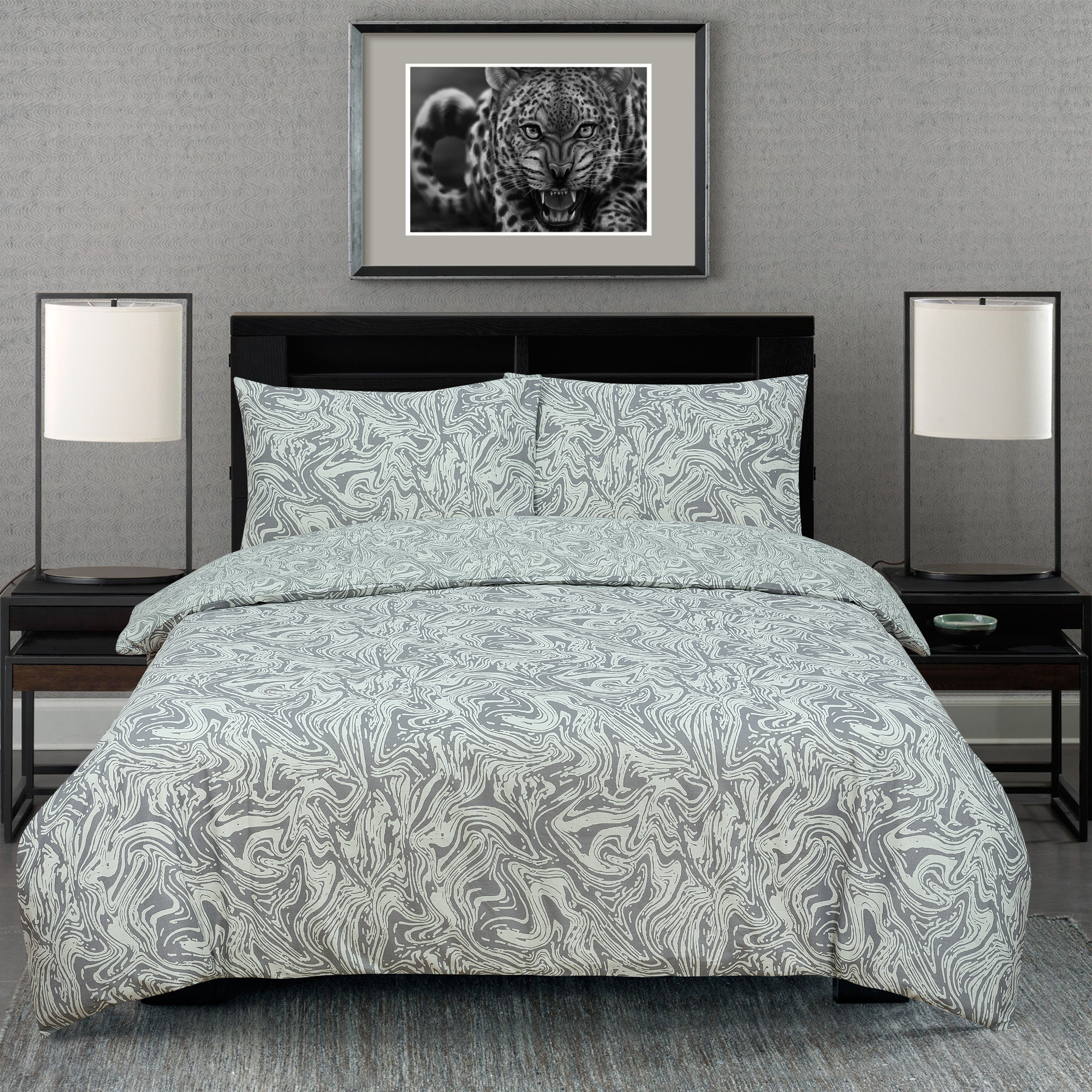 Marble Silver Reversible Rotary Single Bed Duvet Quilt Cover Set