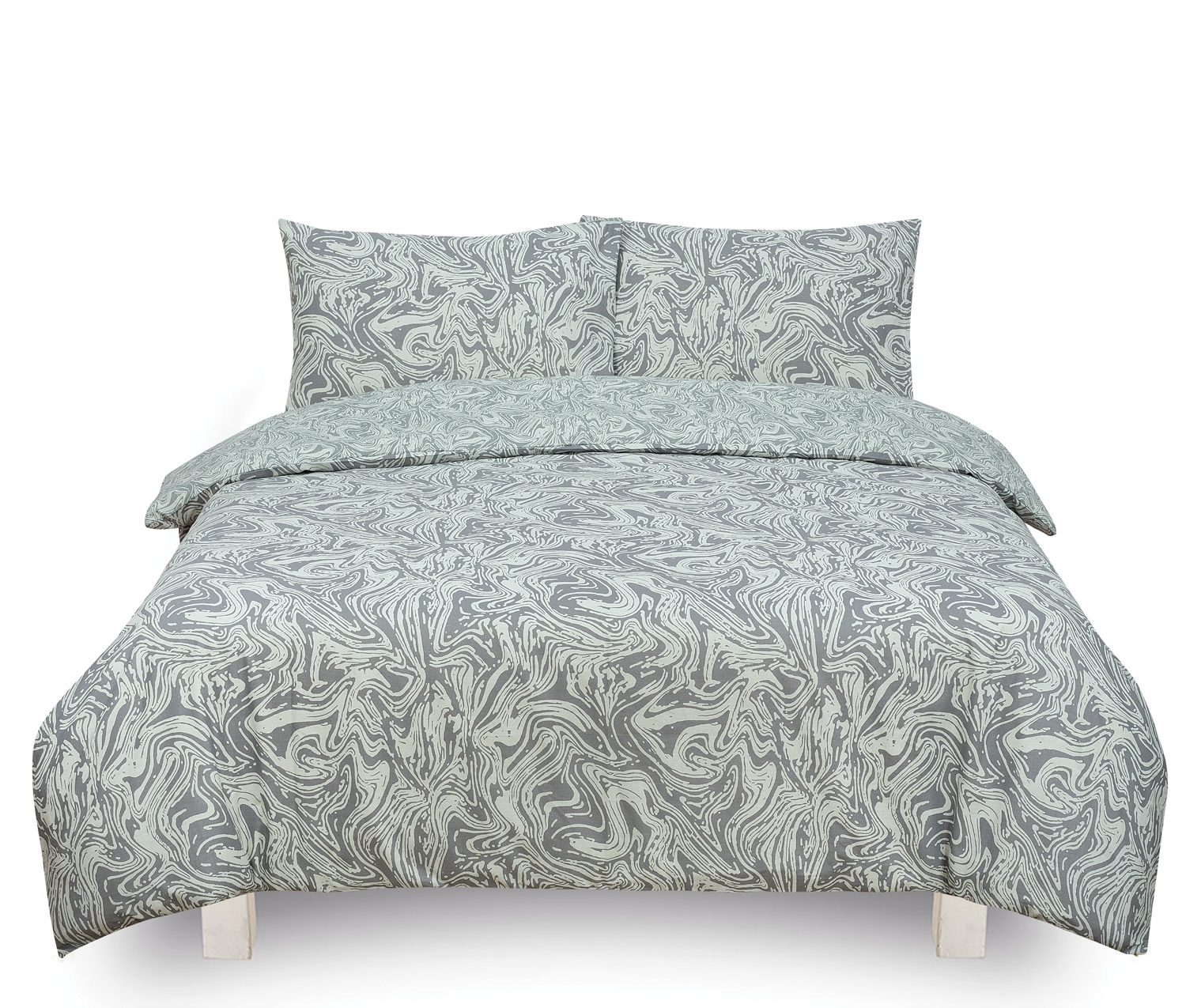 Marble Silver Reversible Rotary Double Bed Duvet Quilt Cover Set