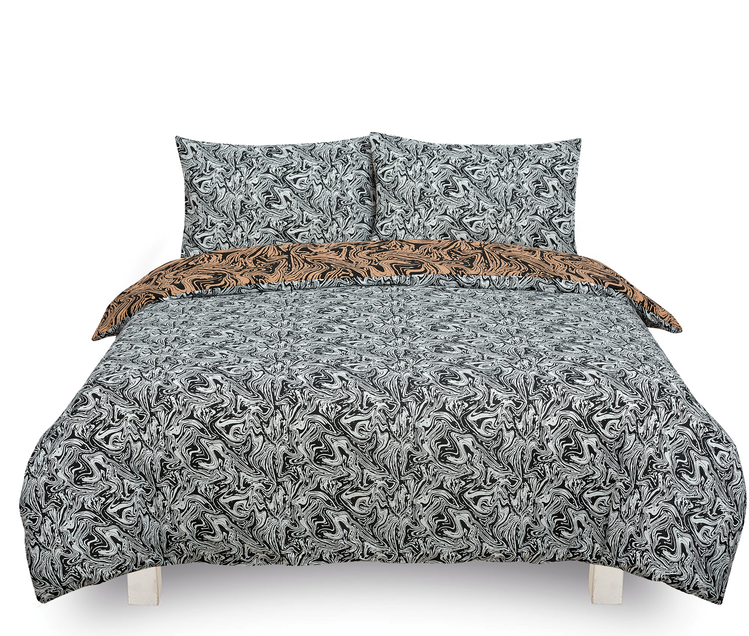 Marble Brown Reversible Rotary Single Bed Duvet Quilt Cover Set