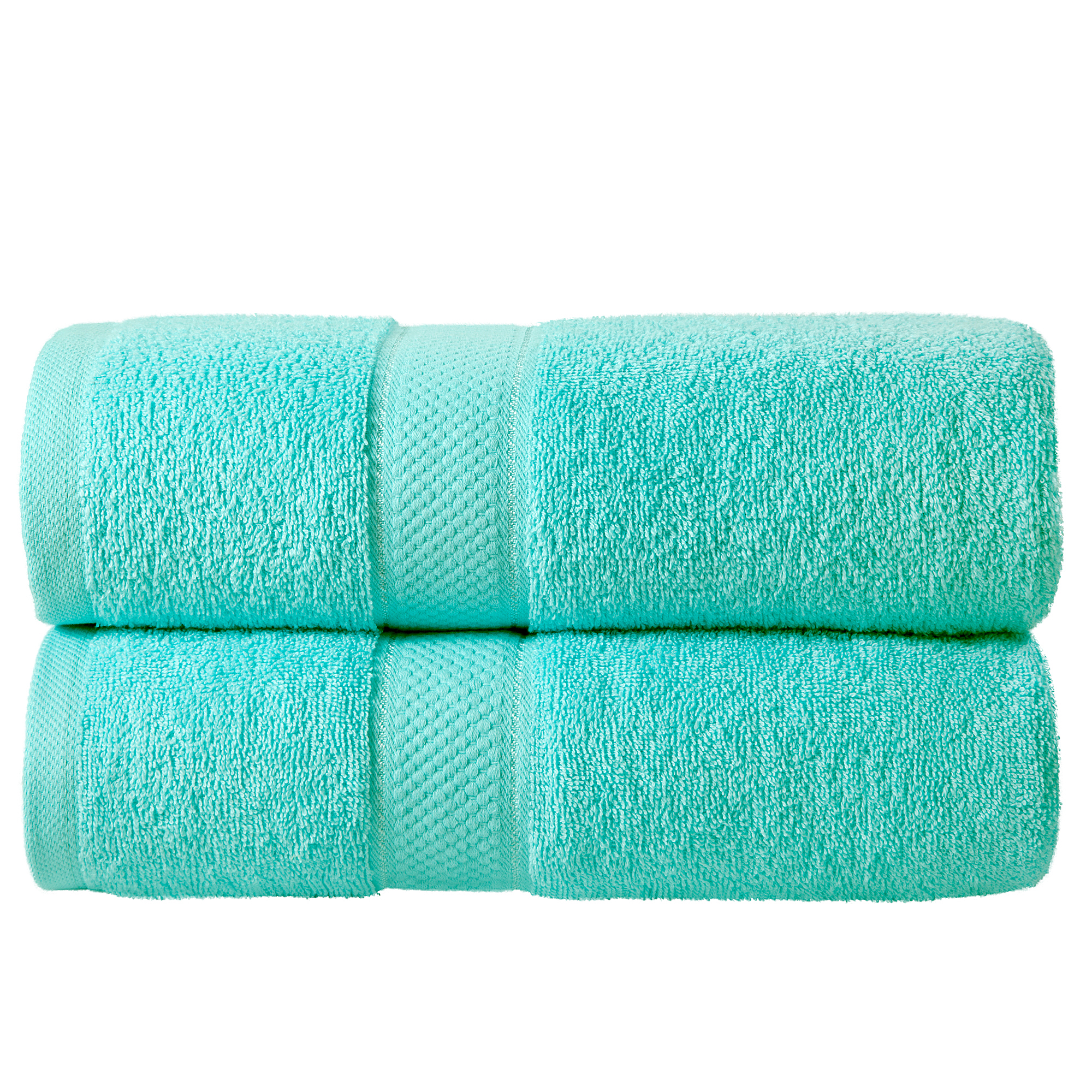 2 Pcs 100 % Cotton Premium Bath Sheet Towel Bale Set Turquoise Plain