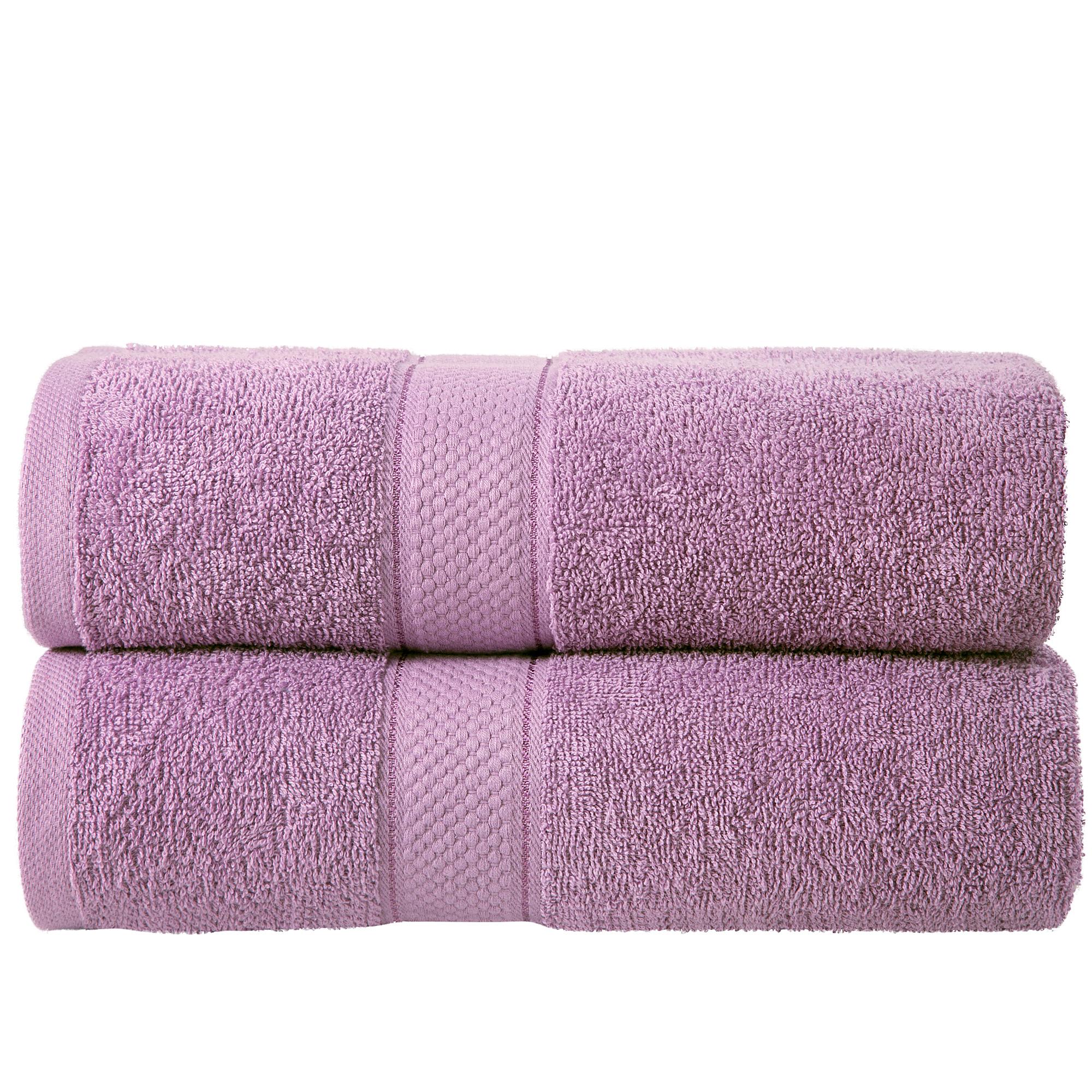 2 Pcs 100 % Cotton Premium Bath Sheet Towel Bale Set Lilac Plain