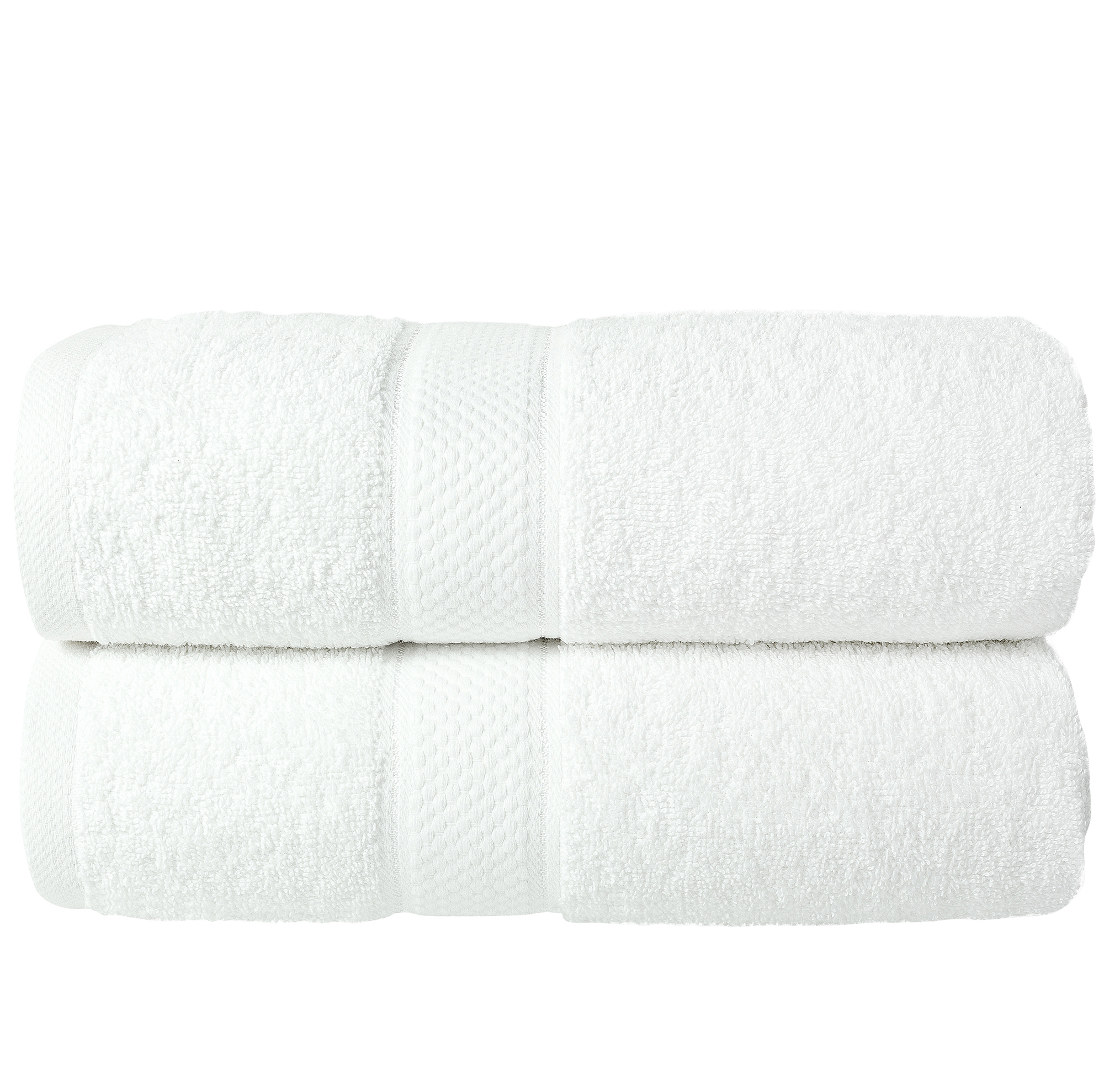 2 Pcs 100 % Cotton Premium Bath Sheet Towel Bale Set White Plain