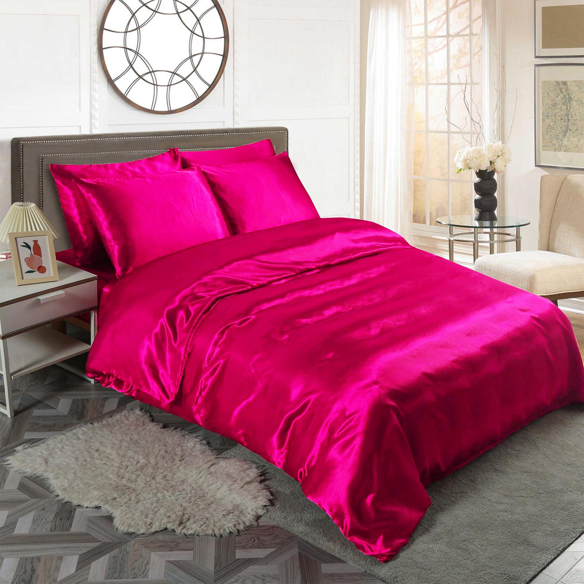 Fuchsia 6pc Satin Panel Super King Bed Duvet Quilt Cover Set