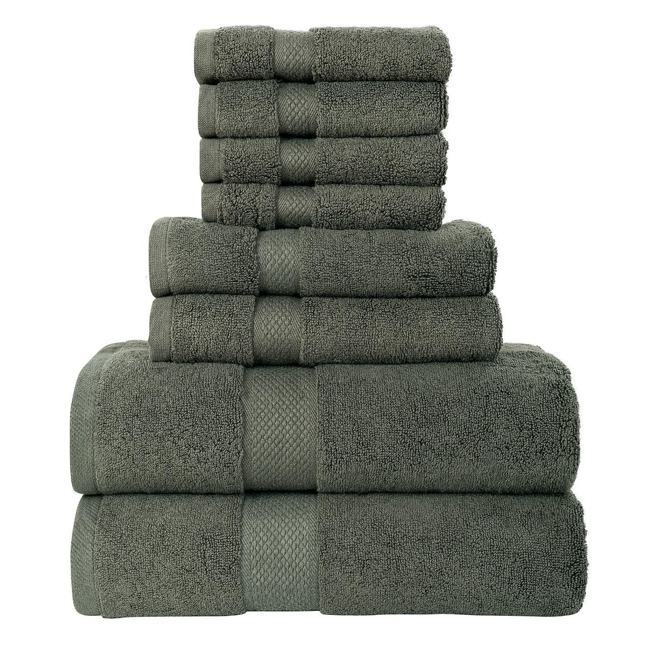 8pcs 700gsm Signature Range Grey Plain 8 Pieces Bale Set Towel