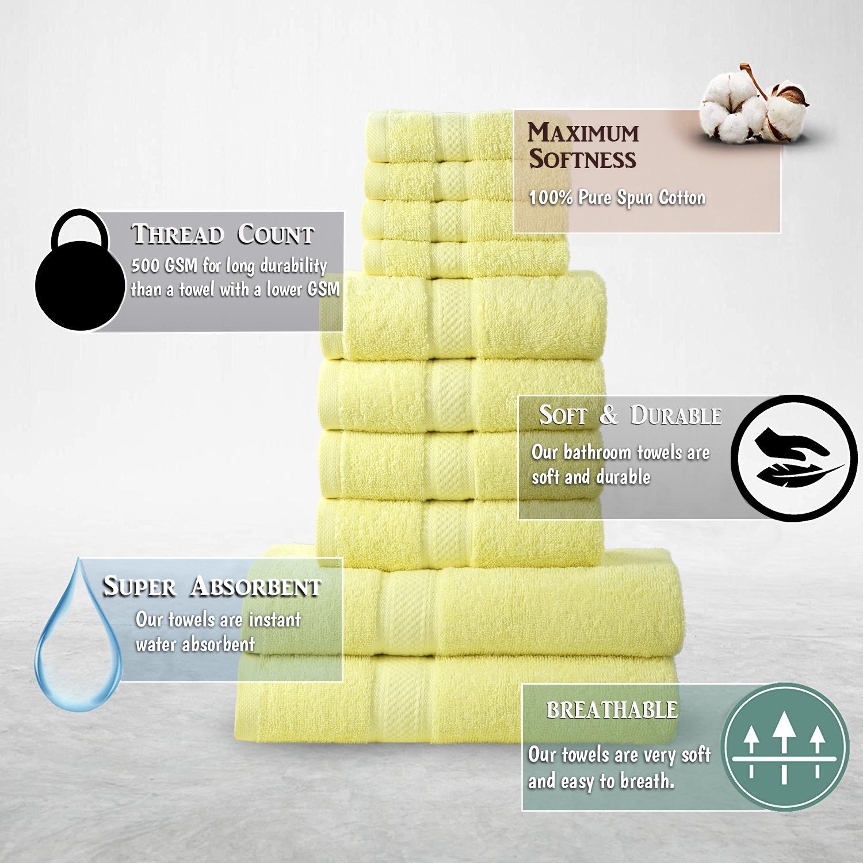 10pcs Lemon Plain Bale Set Towel