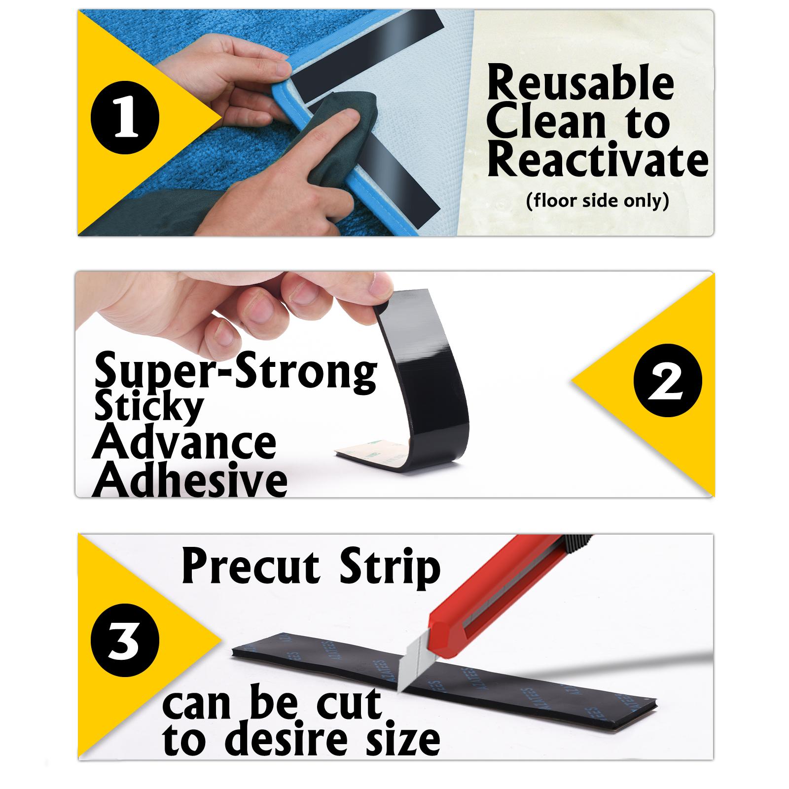 10 Pcs Anti-slip and Reusable Rug Gripper 130x25 Mm