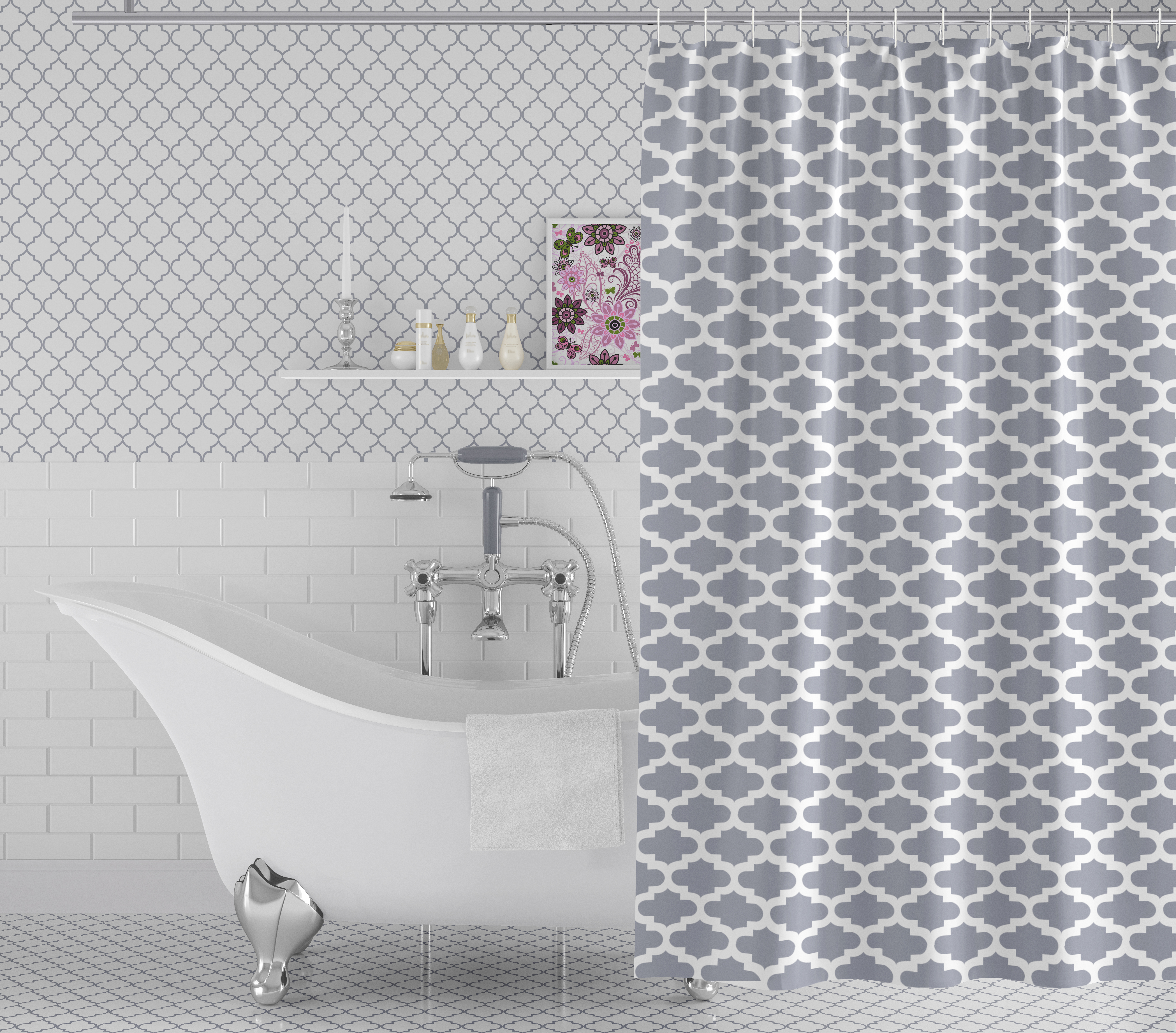 Moroccan Grey with Rings Shower Curtain