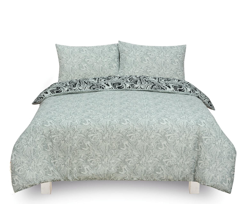 Marble Black Reversible Rotary King Bed Duvet Quilt Cover Set