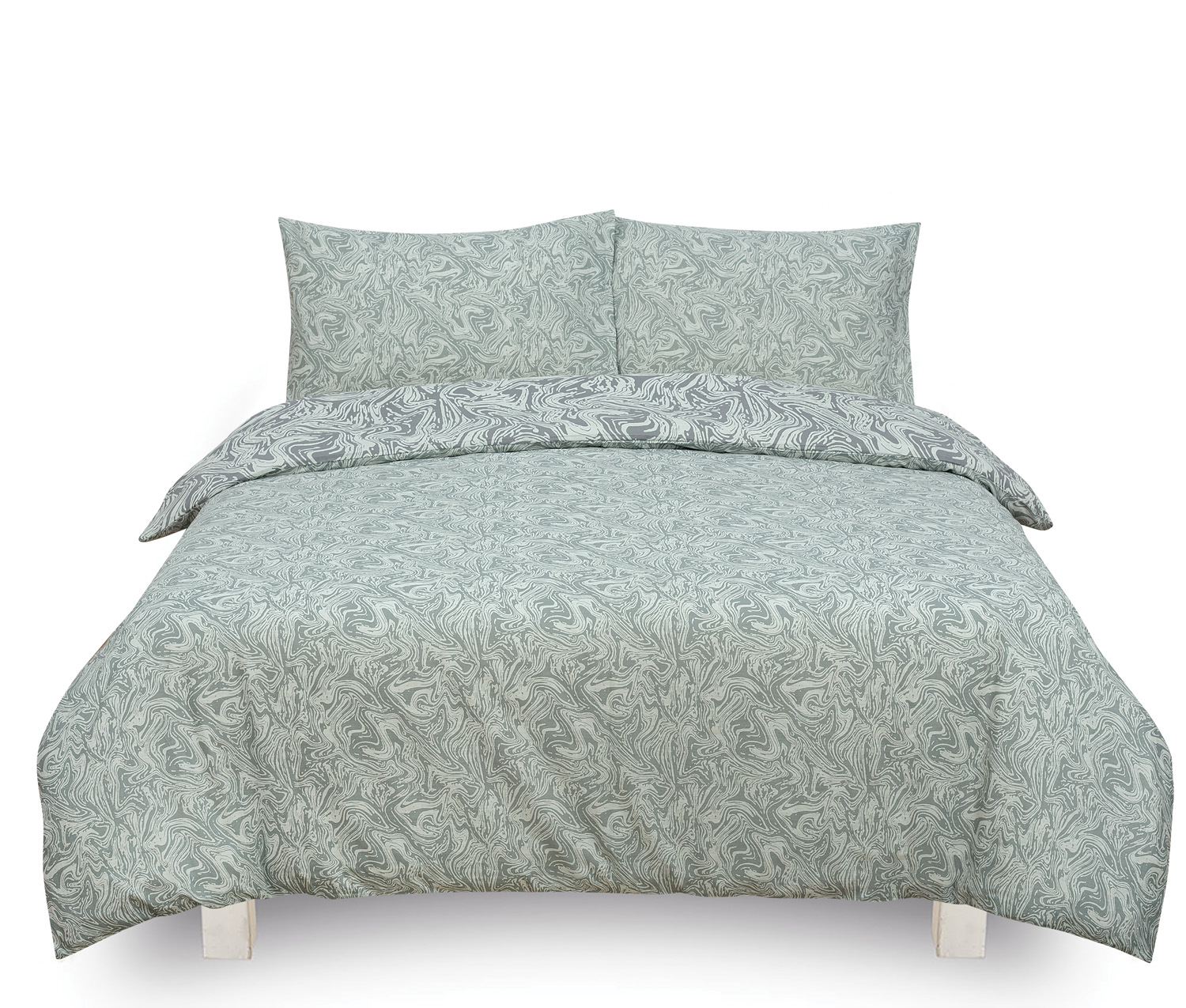 Marble Silver Reversible Rotary King Bed Duvet Quilt Cover Set
