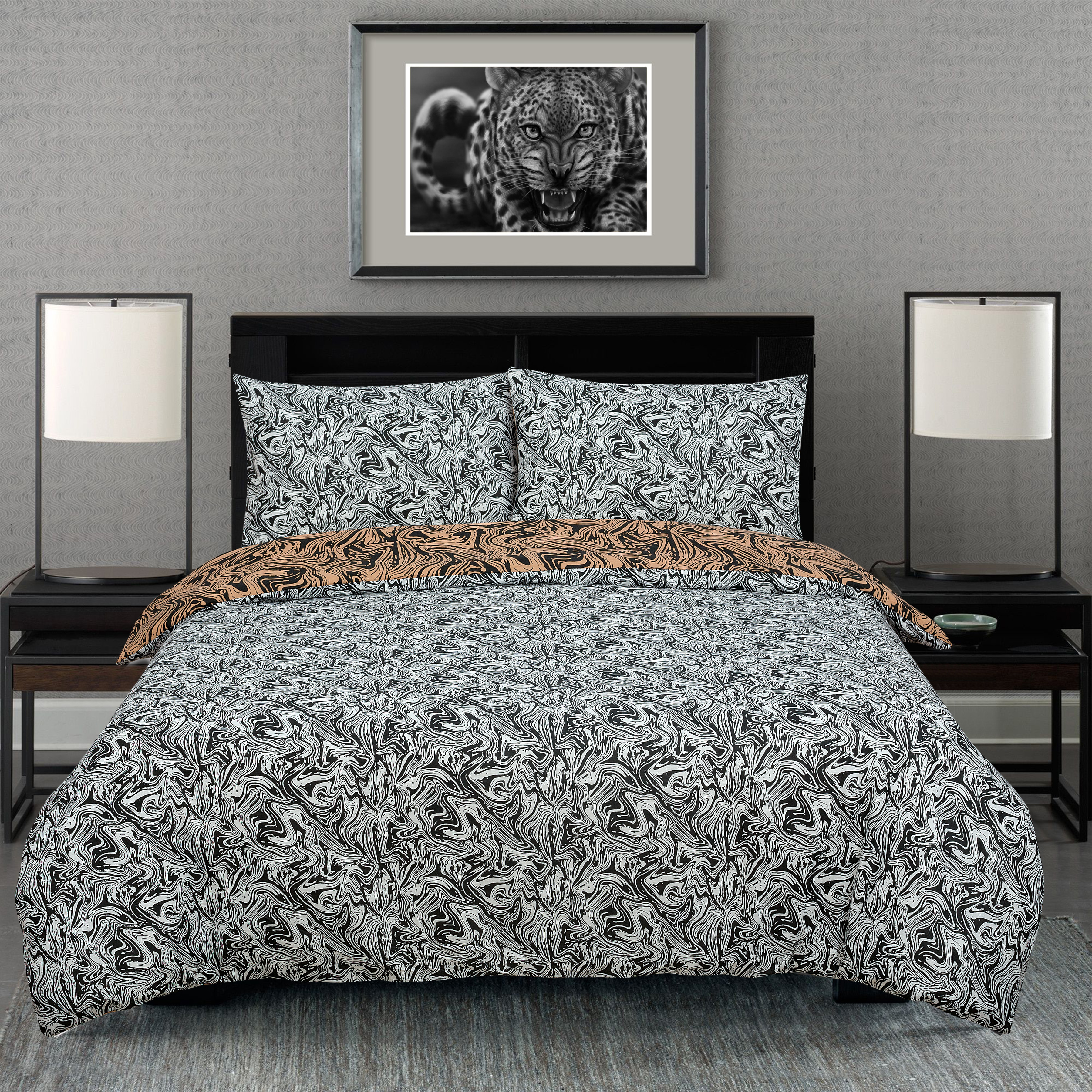Marble Brown Reversible Rotary King Bed Duvet Quilt Cover Set