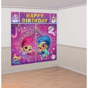 Shimmer and Shine Wall Decoration Set Scene Setter Party Accessories