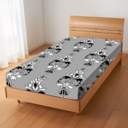 Damask Floral 'Black' Fitted Sheet Bedding Single Bed Set