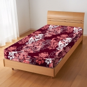 Damask Floral 'Maroon' Fitted Sheet Bedding Single Bed Set