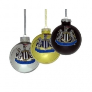 Newcastle United 3pack Fc Football Baubles Official Christmas