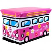 Kids Storage Seat 'Love Bus' Pink Box