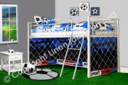 Football Goal Metal Bunk Sleeper Blue Fc Official Single Bed Frame