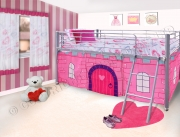 Todd Linens Princess Pink Castle Girls Midsleeper Bunk Single Bed Frame