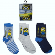 Minion 3 Pk Socks 12 Kids- 2 Size