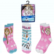 Disney Frozen 3 Pk Socks 12 Kids - 2 Size
