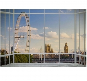 London Skyline Window Wallpaper Mural Wall Paper Decoration