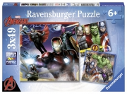 The Mighty Avengers Assemble 3x49 Piece Jigsaw Puzzle Game